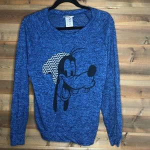 Disney Parks Goofy Cable Knit Pullover Blue